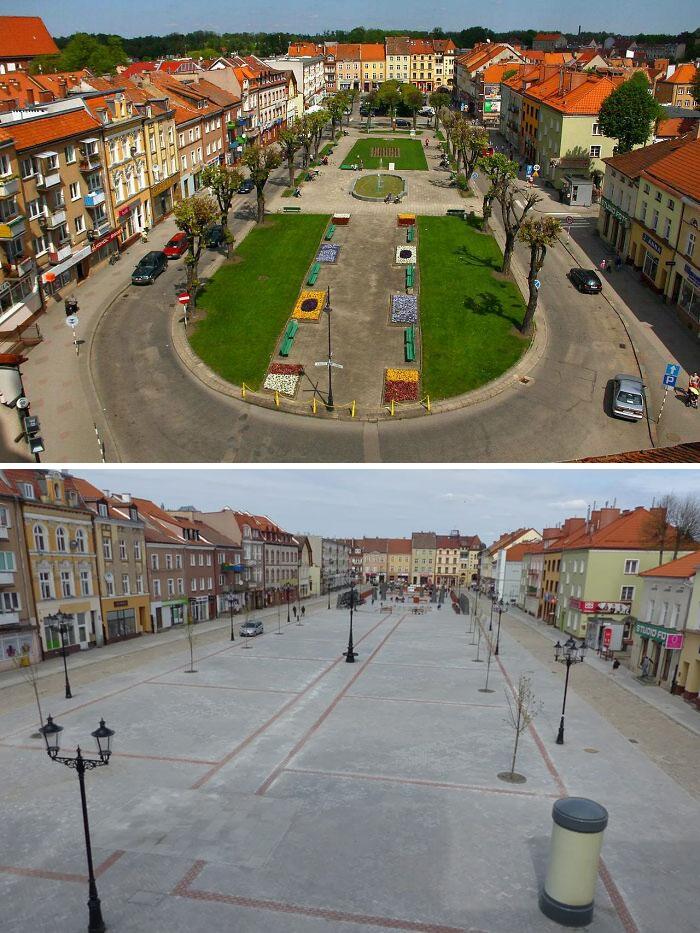 Plaza de la ciudad en Bartoszyce (Polonia), antes y después