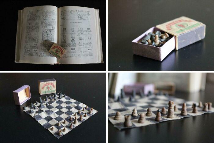 Juego de ajedrez hecho en prisión, fabricado en los años 50 - Hecho de papel higiénico, pan seco y cola para zapatos