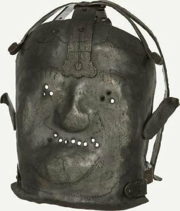 17th Century Metal Mask That Was Used To Restrain Individuals Who Were Considered To Be Insane