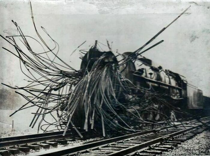 A Train Shredded After A Boiler Explosion - There's Something About This Image I Find Weirdly Unsettling