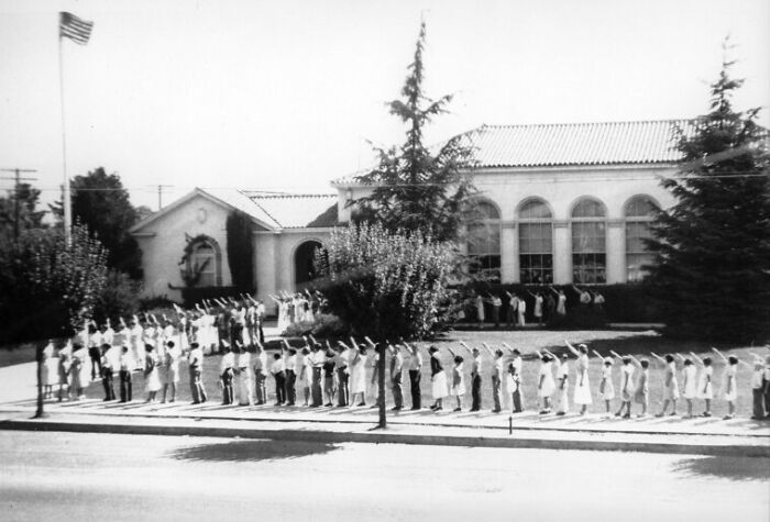 Children Salute The American Flag In Front Of The Morgan Hill School (California), 1930s