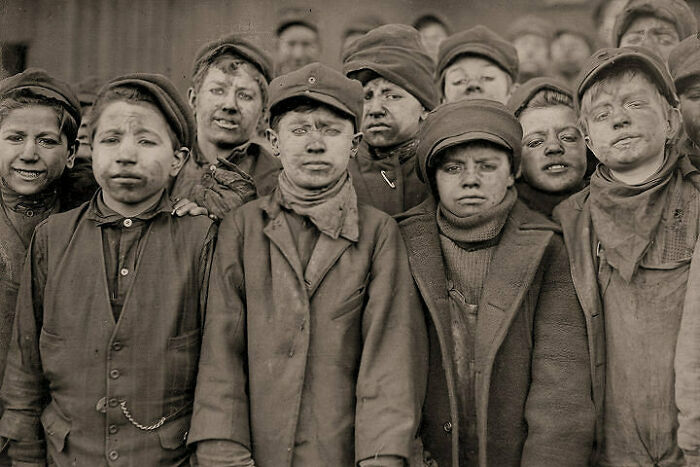 Children After Working In The Mine