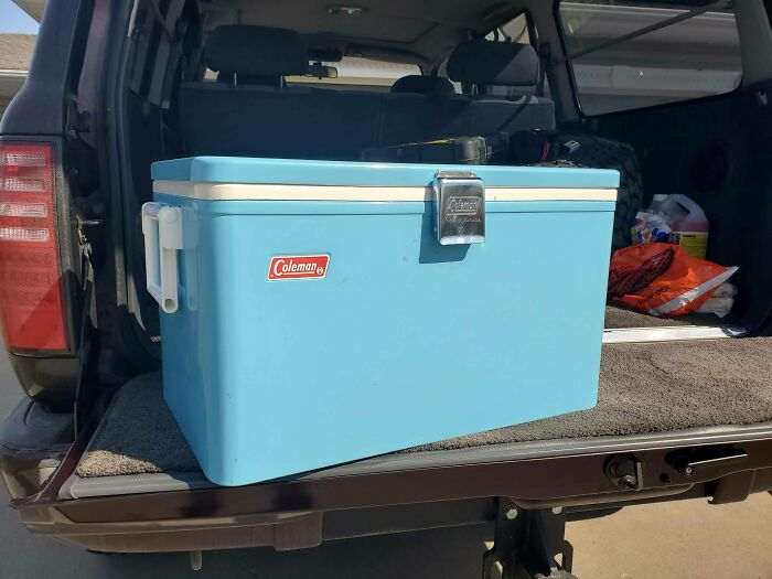 Colman Snow-Lite Low Boy Cooler From The 60s. Gifted To Me From My Grandparents Who Picked It Up From A Thrift Store Nearly 20 Years Ago. Still Holds Ice For Nearly A Week!