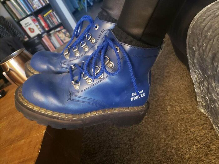 Thrifted From Bulgaria Around 2 Decades Ago. Rail Road Worker Steel Toe Boots. Haven't Moved An Inch Since The Day I Got Them