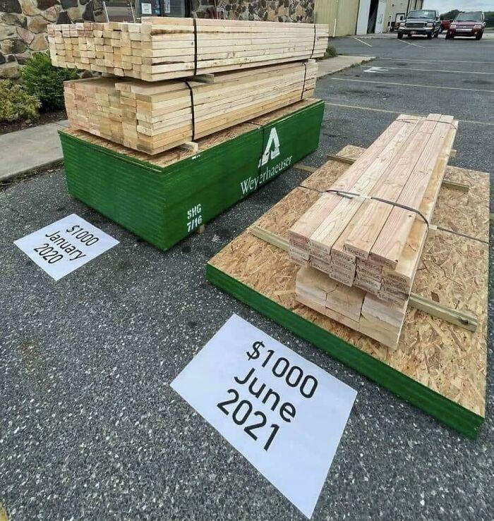 ¿Realmente es esta la diferencia en el precio de la madera entre enero de 2020 y junio de 2021?