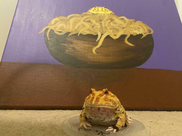 He pintado a Meatball encima de un cuenco de espaguetis. Creo que le gusta