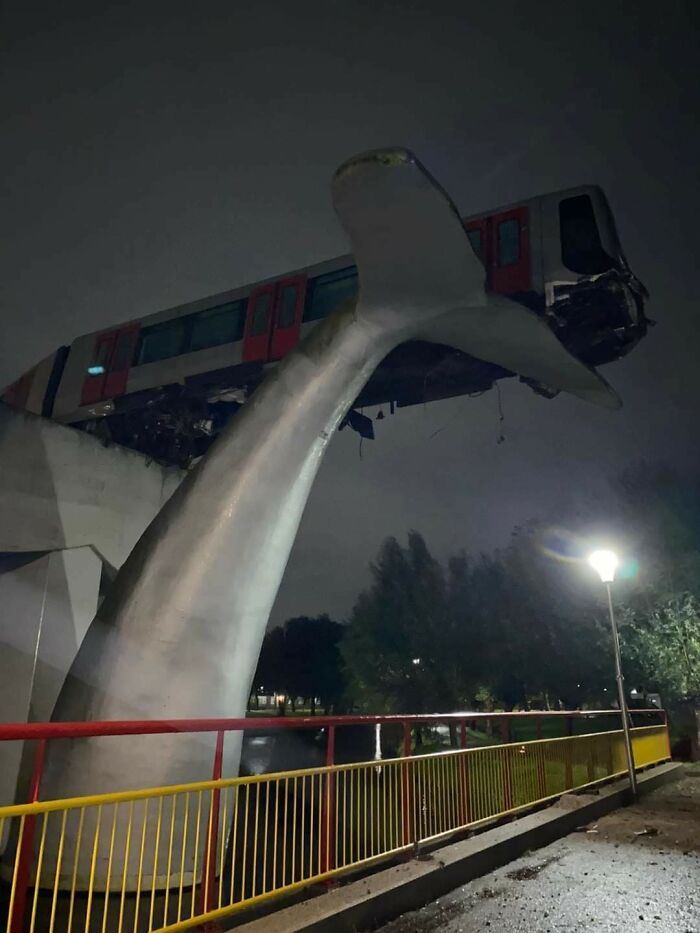 November 02, 2020: Train Breaks Through Barrier Onto Statue At The End Of The Line. Happened In The Middle Of The Night, No Injuries As Of Yet. Spijkenisse, The Netherlands