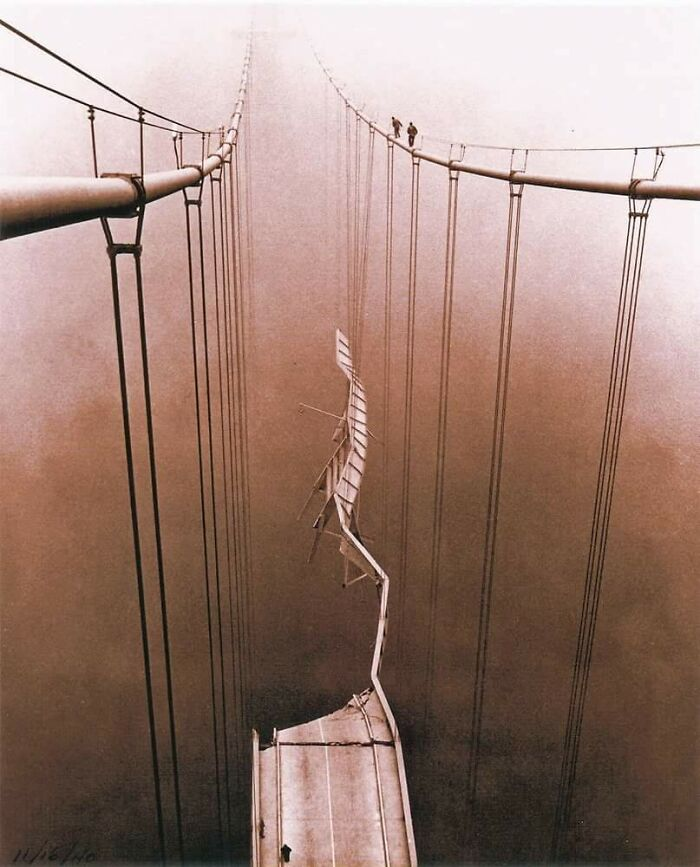 The View Of The Tacoma Narrows Bridge Collapse From Atop The Suspension Cabling, 1940