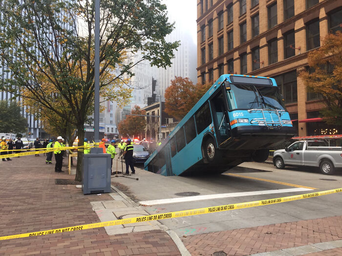 In Pittsburgh. Sinkhole Eats Bus. No One Seriously Hurt