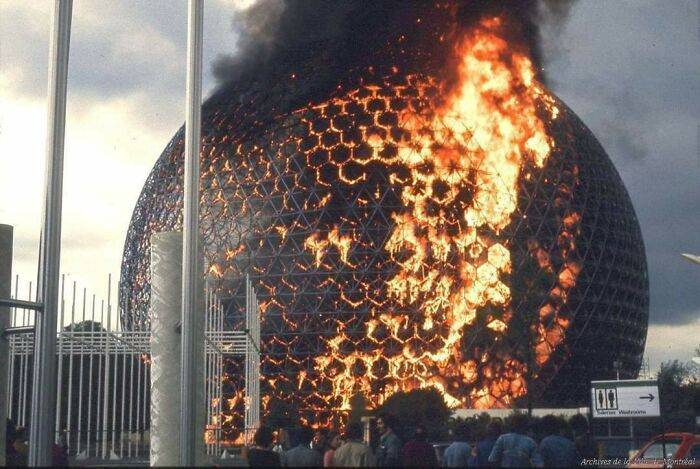 On May 20, 1976, During Structural Renovations, A Fire Burned Away The Montreal's Biosphère Transparent Acrylic Dome