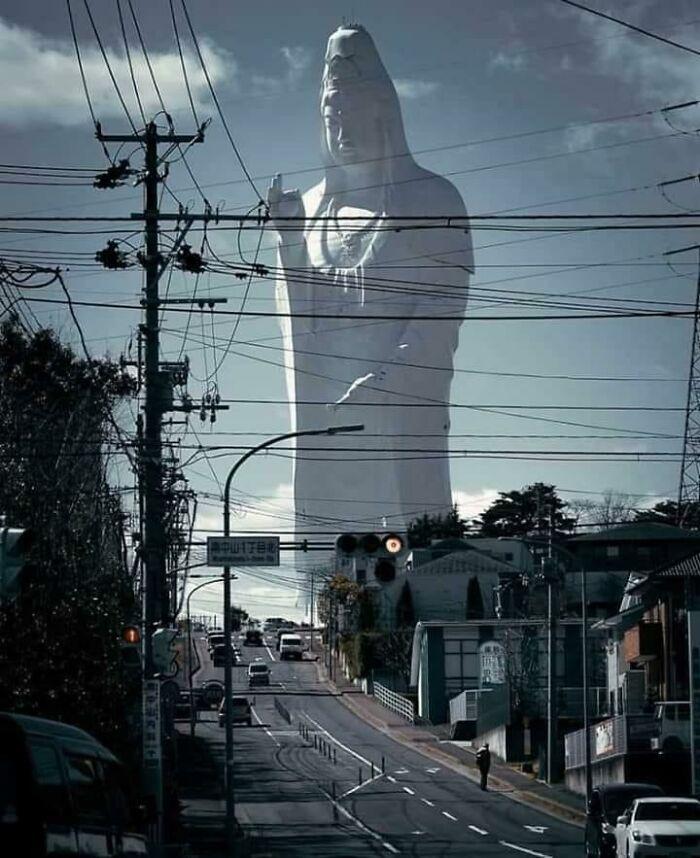 It Is The Tallest Statue Of Nyoirin Kannon In The World, And The Tallest Statue Of A Goddess In Japan