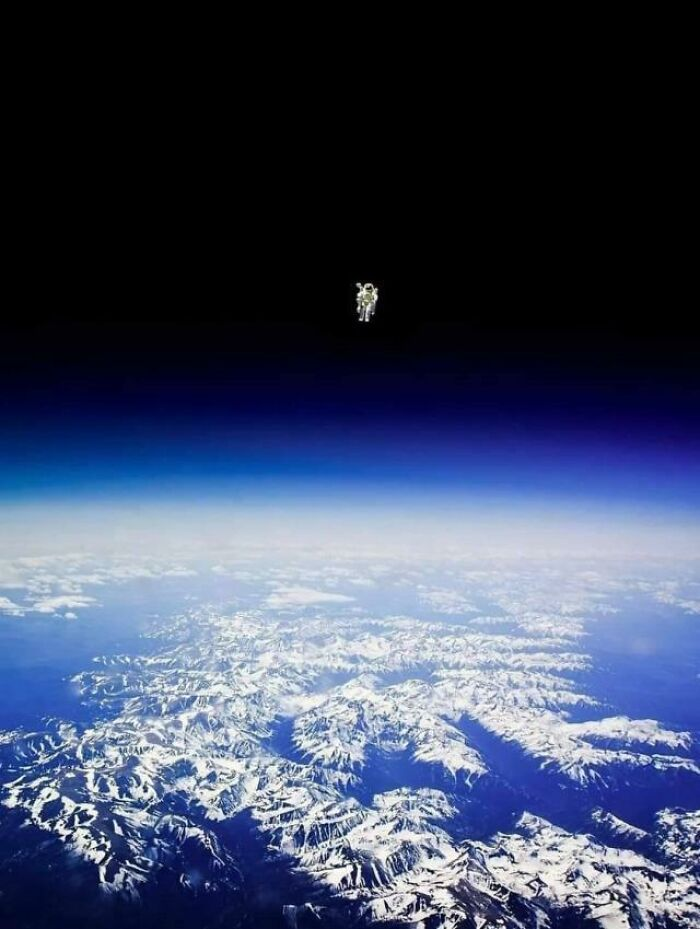 Astronaut Bruce Mccandless II Floats Untethered Away From The Safety Of The Space Shuttle, With Nothing But His Manned Maneuvering Unit Keeping Him Alive. The First Person In History To Do So