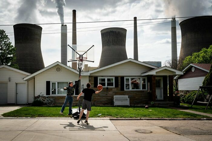 Children Playing Basketball Near The John E. Amos Coal-Fired Power Plant In Poca, West Virginia
