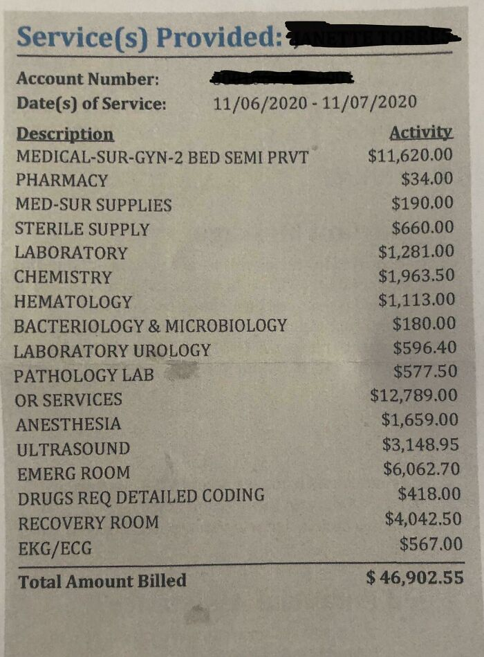 My Mother's Hospital Bill Of When She Went To The Er Cause Of Her Gallbladder And Had To Have Emergency Surgery. She Was In The Hospital For One Day