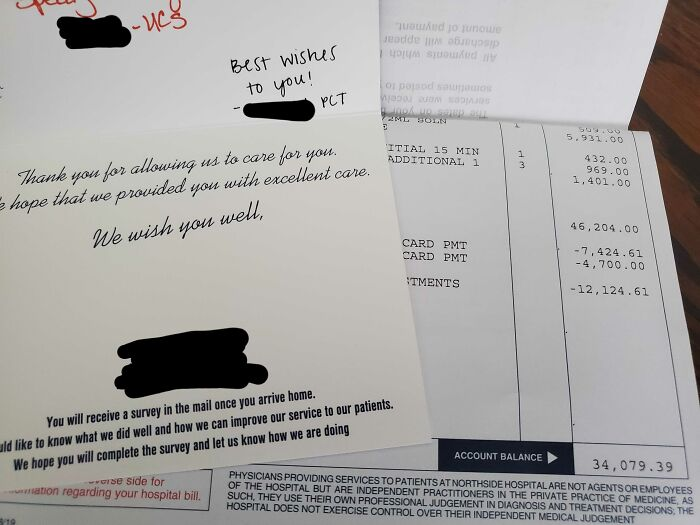 Got Our Hospital Bill On The Same Day That A Handwritten Thank You Card From My Wife's Nurses Arrived
