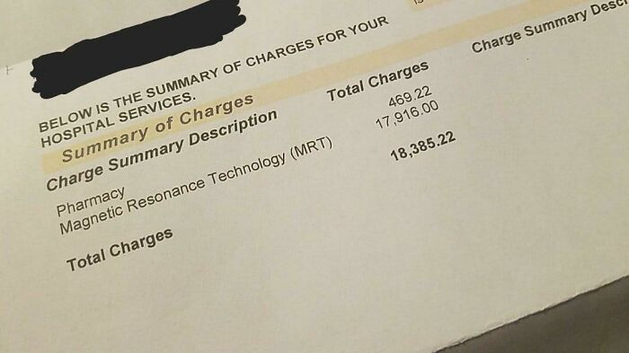 My Hospital Bill After A Single Mri Brain Scan In The Us