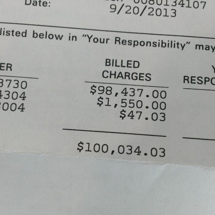 Just Got The First Bill For My Back Surgery. The Surgery Itself Is Not Included On This Statement