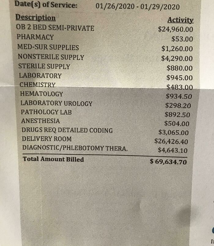 Got The Hospital Bill For Delivery Of My C-Section Baby. I Don't Think I Need To Say Which Country I Live In
