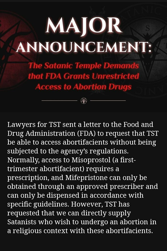 Satanic Temple Writes A Letter To The FDA In Their Bid To Protect Abortion Rights