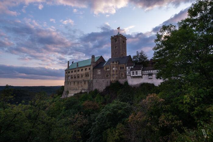 Vista clásica del Wartburg, uno de los castillos más importantes de Alemania