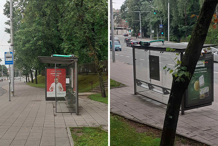 Somebody Dropped A Scooter On A Bus Stop