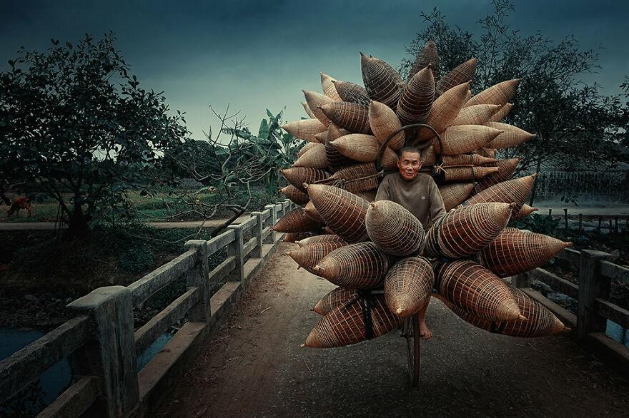 Bamboo Basket Seller By Ly Hoang Long