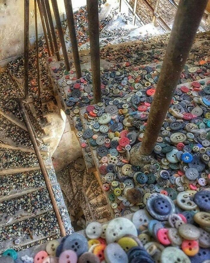 The Stairway Of An Abandoned Button Factory