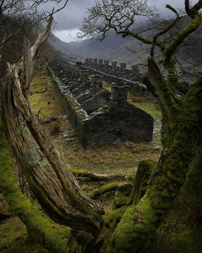 Beautiful Abandoned Miners' Cottages In A Disused Slate Quarry In Snowdonia, North Wales
