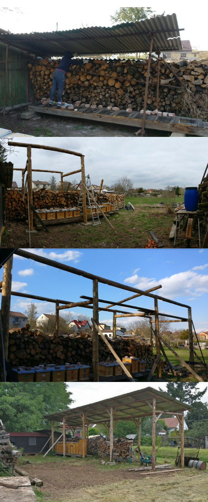 Remake Of Temporary Bee And Firewood Shelter. All Built Only With Hand Tools And Chainsaw.