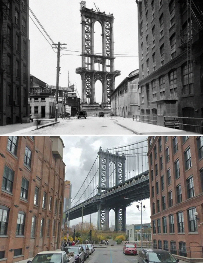 Unfinished Manhattan Bridge In 1908 And Now