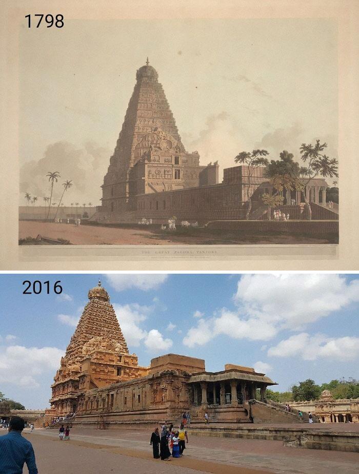 Brihadisvara Temple, Thanjavur, India. 1798 Lithograph By Thomas Daniell And 2016. Built Between 1003-1010