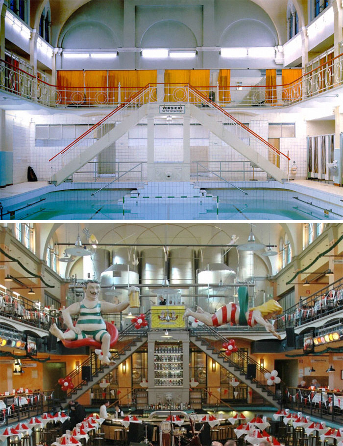 A Former Public Bath In Wuppertal, Germany, Now A Brewery And Beer Hall. 1993 vs. 2019