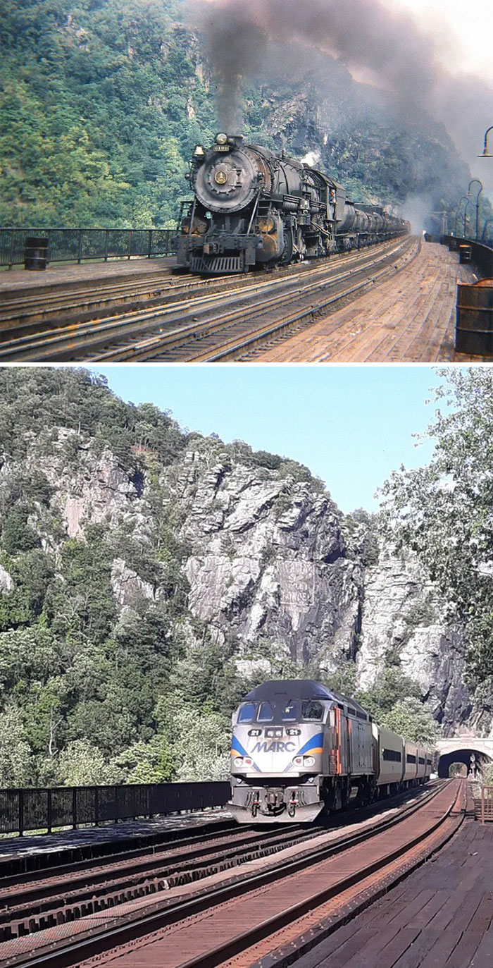 Trains At Harper's Ferry, Wv In 1947 And 2021. The 1947 Image Taken By Ed Wittekind, 2021 Image Shot By Me In The Same Exact Spot