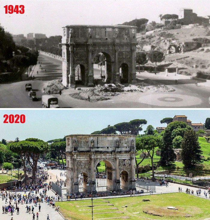Arch Of Constantine In Rome, 1943 (Taken By My Grandfather), And What It Looks Like Today