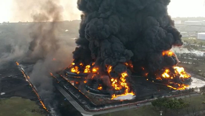 Drone View Of Indonesia's Largest Oil Refinery Explosion In Indramayu