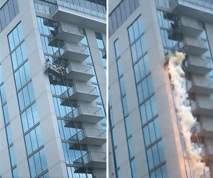 Cable On A Window Washing Station Snaps And Hits A Power Line, Causing An Electrical Explosion. The Workers Were Saved By Their Emergency Harnesses