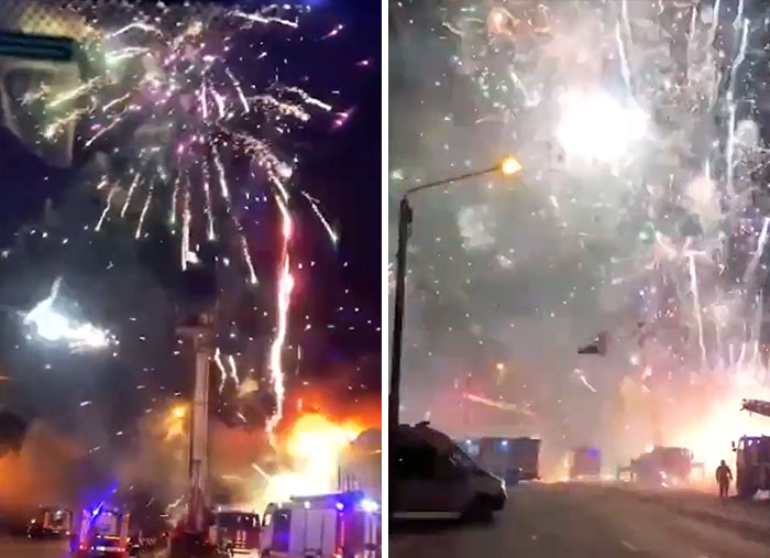 Fireworks Store Bursts Into Flames At The Market In Rostov-On-Don, Russia, On The 6th Of December, 2020