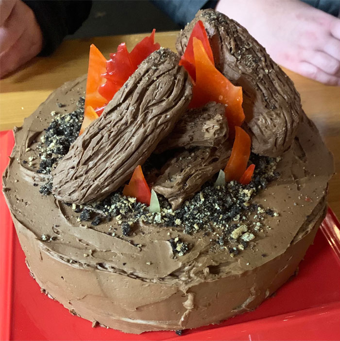 I Made My Friend A Campfire Cake For Her Birthday But The More I Look At It, The More It Looks Like A Flaming Pile Of Poop