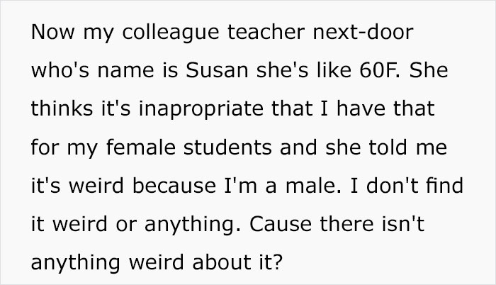 Female Colleague Calls Out This Male Teacher For Keeping A Basket Full Of Tampons And Pads For His Students