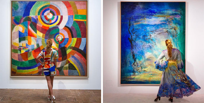 30 Times When This Woman Perfectly Matched Her Outfits To Various Artworks In Museums And Art Galleries