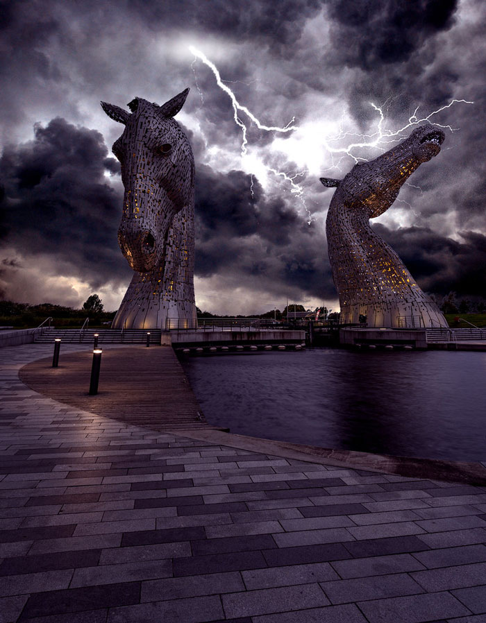 The Kelpies, Scotland, During Thunderstorm