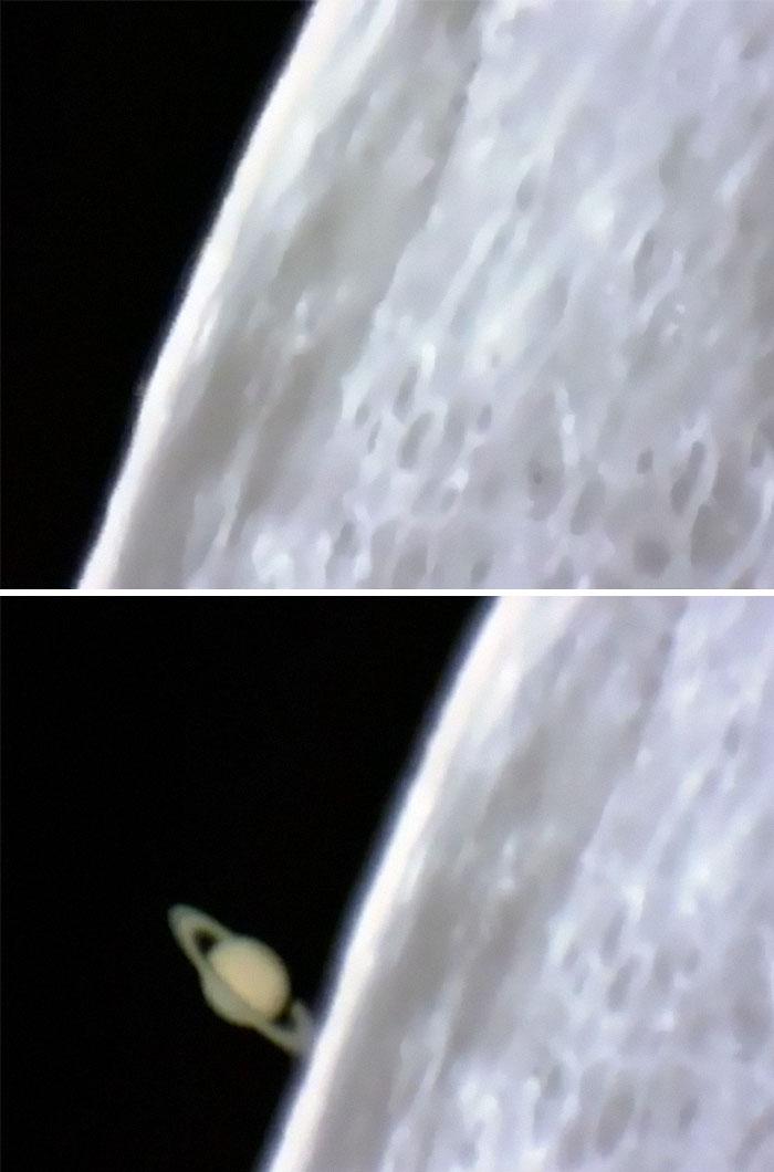 Saturno saliendo detrás de la Luna