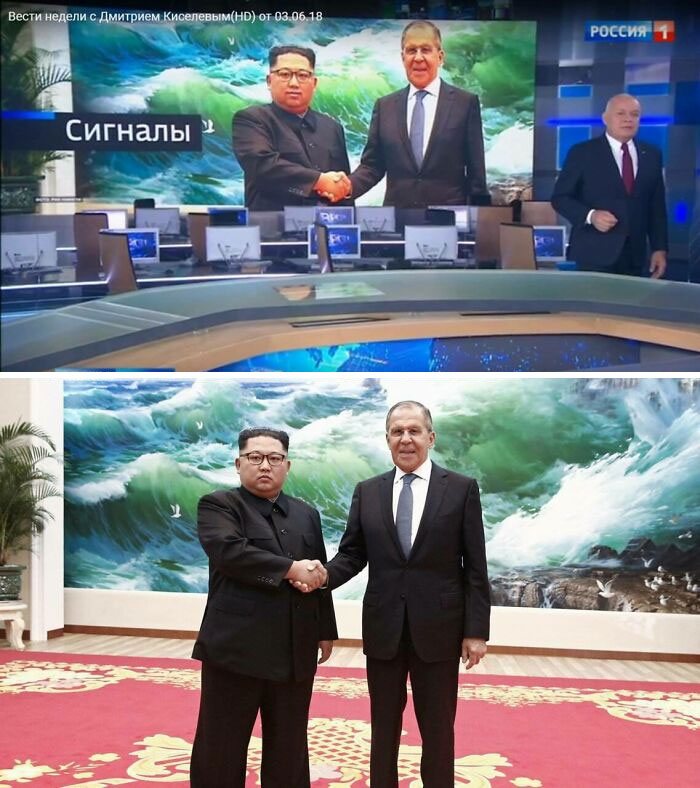 On Russian Television Photoshopped The Smile Of Kim Jong-Un