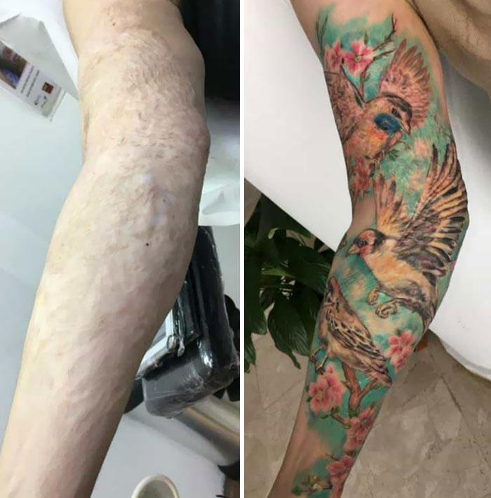 Mi sobrino finalmente se cubrió sus cicatrices de quemaduras con un tatuaje. ¡Estoy tan orgulloso de mi niño! Me hizo sonreír y también me hizo llorar de felicidad