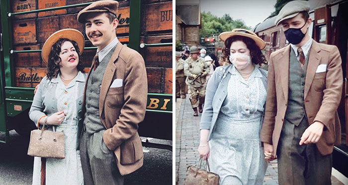 Engaged Young Couple Lives Like It's The 1930s With Vintage Clothes, Home, Tools, And A Car (30 Pics)