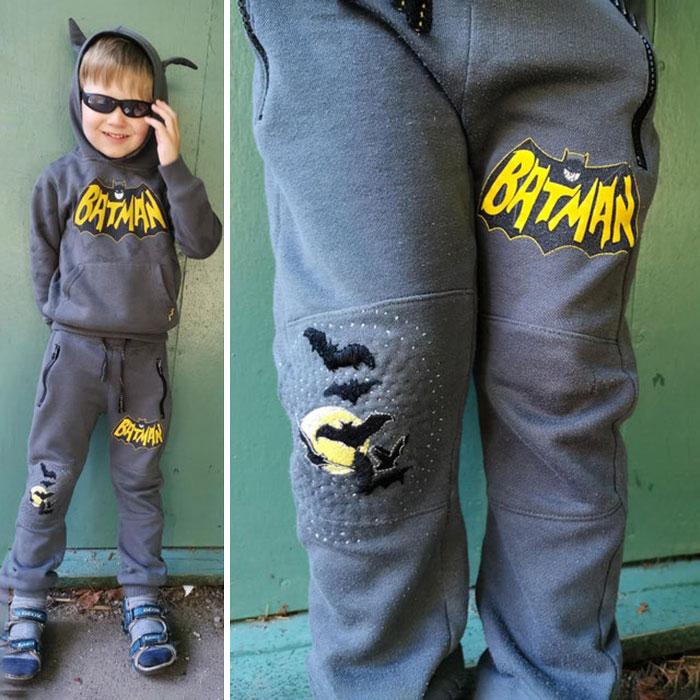 Emparché y remendé con unos murciélagos los pijamas de Batman de mi hijo de 4 años