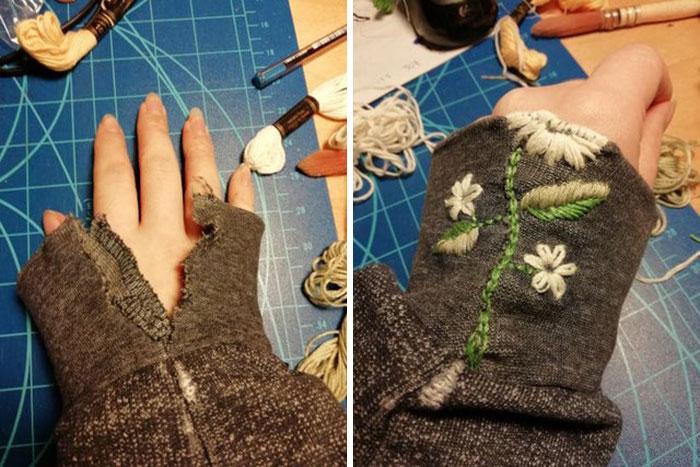 ¡Mi primer remiendo visible! Arreglé el suéter de mi novio