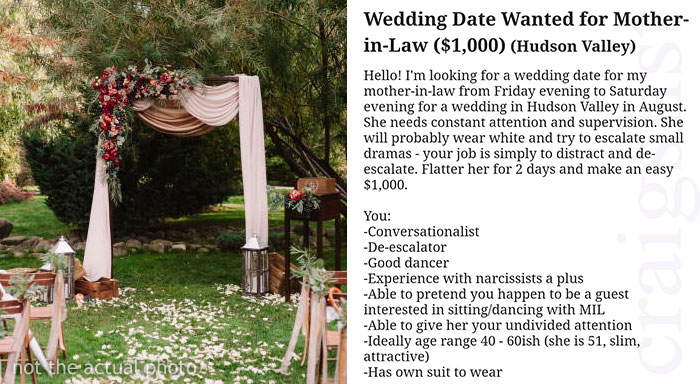 Craigslist Ad Seeking Wedding Date For Mother-In-Law From Hell Goes Viral