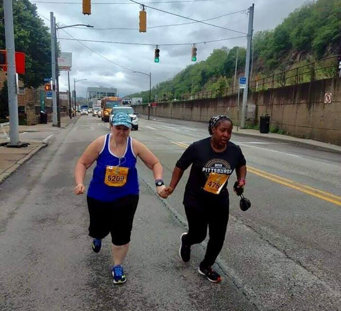 The Last Two Runners In The Pittsburgh Marathon Not Letting Each Other Quit. Whoever These Two Runners Are, They Totally Made My Day