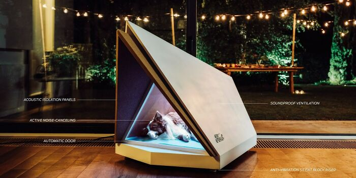 Noise-Cancelling Dog House That Can Keep Your Pup Calm During Fireworks And Thunderstorms (A Prototype By Ford, Using Technology Created For High-End Vehicles)